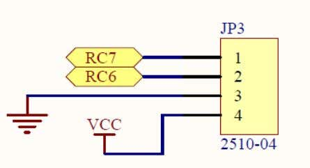 15 shows the connection. Interface UC00A with PIC16F876A Figure 16 RC6 and RC7 which serve as