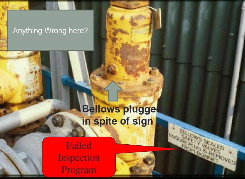 Anything Wrong here? Bellows plugged in spite of sign Failed Inspection Program
