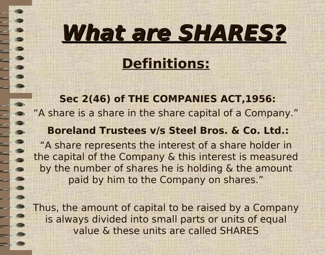 "WhatWhat areare SHARES?SHARES? Definitions: Sec 2(46) of THE COMPANIES ACT,1956: ""A share is a share"