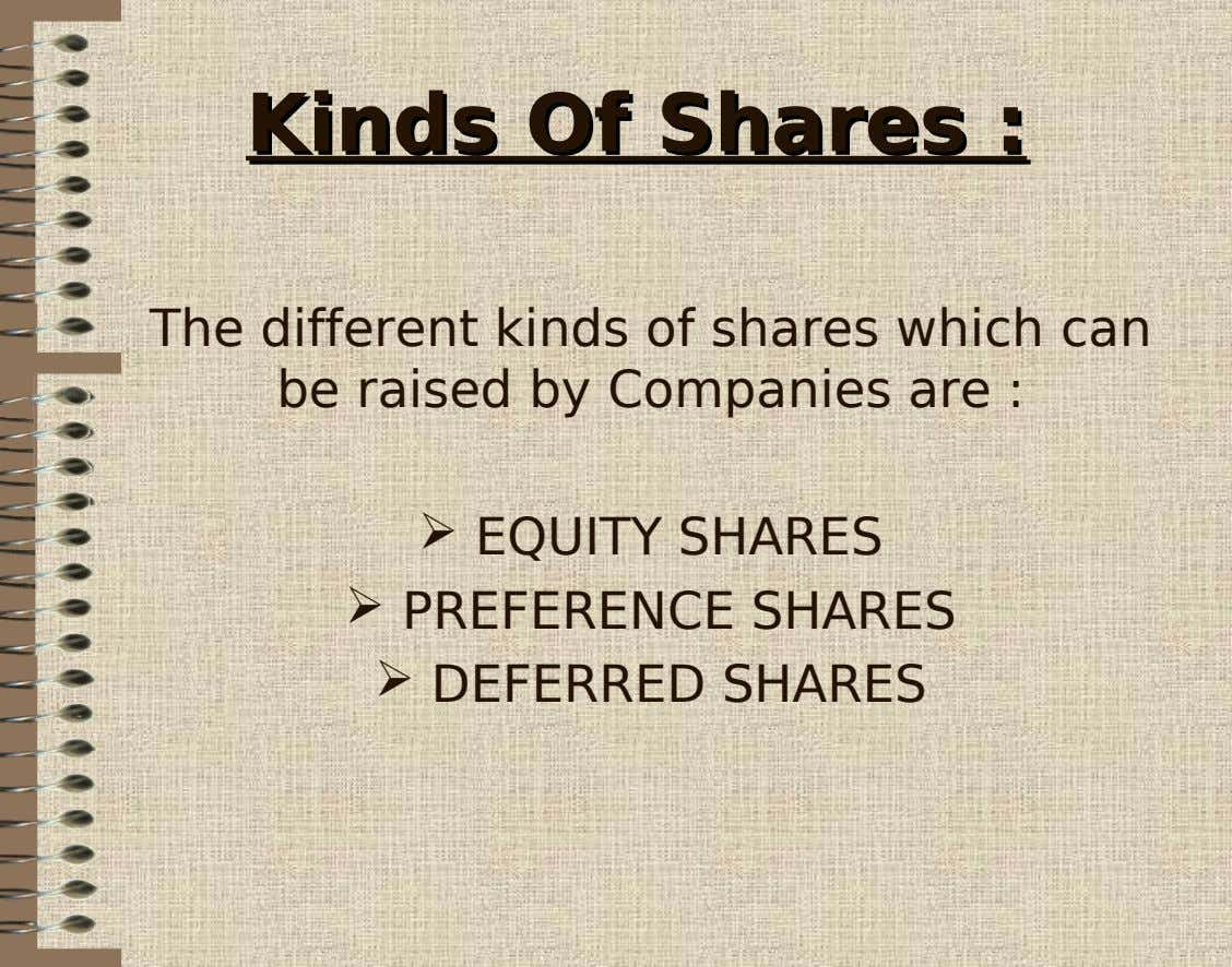 KindsKinds OfOf SharesShares :: The different kinds of shares which can be raised by Companies