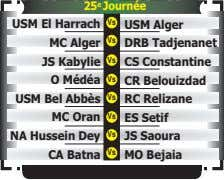 25 e Journée USM El Harrach Vs USM Alger Vs MC Alger DRB Tadjenanet JS