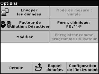 à un test ou à un échantillon, appuyez sur Options . Tableau 5 Options du programme