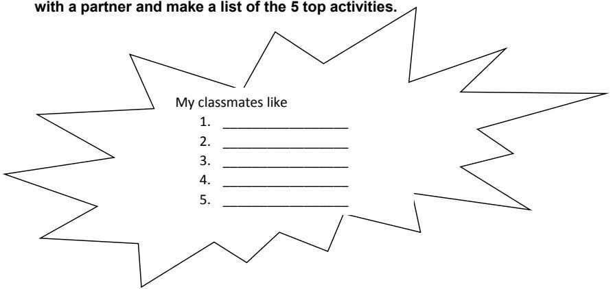 with a partner and make a list of the 5 top activities. My classmates like
