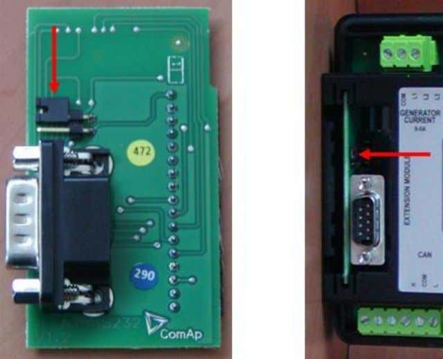 with the boot jumper placed on it. See pictures below: RS 232 communication module with the