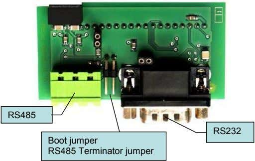 RS485 RS232 Boot jumper RS485 Terminator jumper