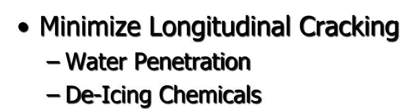 • Minimize Longitudinal Cracking – Water Penetration – De-Icing Chemicals