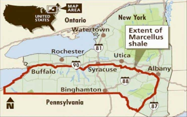 Figure 3: Map of the Marcellus shale formation within New York State x v i