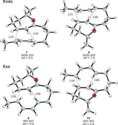 the oxocarbenium group in con- jugation with the dienophile. B3LYP stationary points for four transition structures