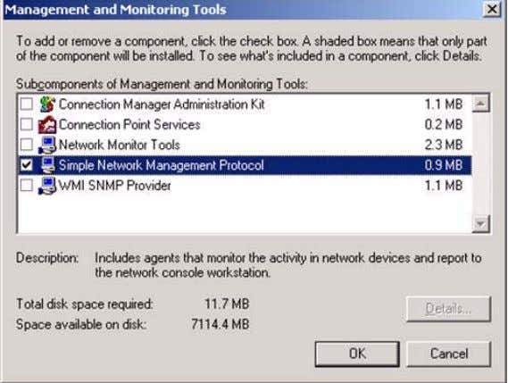 5. Select Simple Network Management Protocol and click OK , then click Next to open