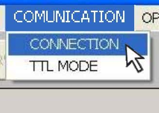 1 from the main menu, choose COMMUNICATION CONNECTION; If the instruments are EVD_400 devices, set COMMUNICATION