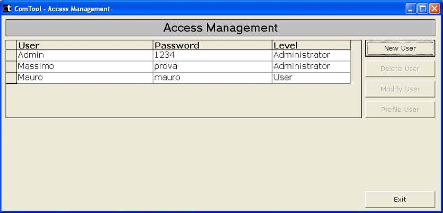 go to ACCESS MANAGEMENT USER CONFIGURATION to displ ay the following window: +030220861 - rel. 1.0