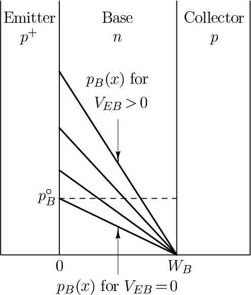Bias-Dependence of Carrier Distributions in the Base Region in the base region of a pnp transistor
