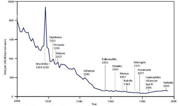 death rate per 100,000 persons, United States, 1900 to 1996 Source: Adapted from Figure 1 in