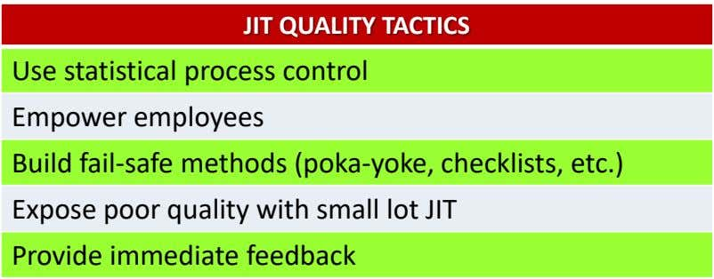JIT QUALITY TACTICS Use statistical process control Empower employees Build fail-safe methods (poka-yoke, checklists, etc.) Expose
