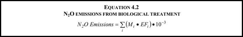 EQUATION 4.2 N 2 O EMISSIONS FROM BIOLOGICAL TREATMENT N O Emissions = ∑ (