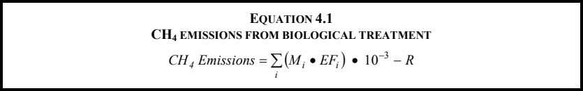 EQUATION 4.1 CH 4 EMISSIONS FROM BIOLOGICAL TREATMENT − 3 CH 4 Emissions = ∑
