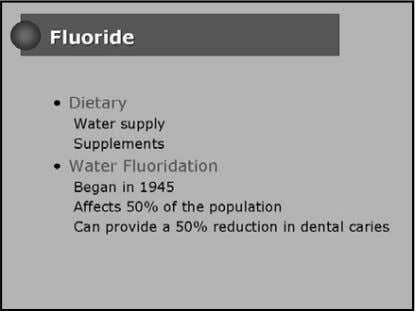 1. A 5 yr old pt lives in an area with .75 ppm flouride. What is