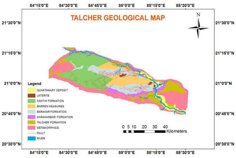 DUMP SLOPE STABILITY ANALYSIS – A CASE STUDY 727 Fig.2. Geological map of Talcher area (Source