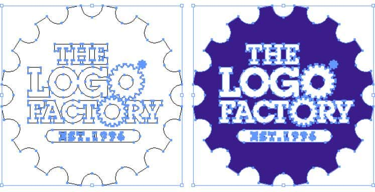 in vector, with outlined fonts added to our cog graphic. These vector shapes can be resized,